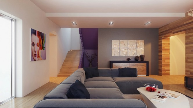 Wood-clad-feature-wall-gray-decor-665x374