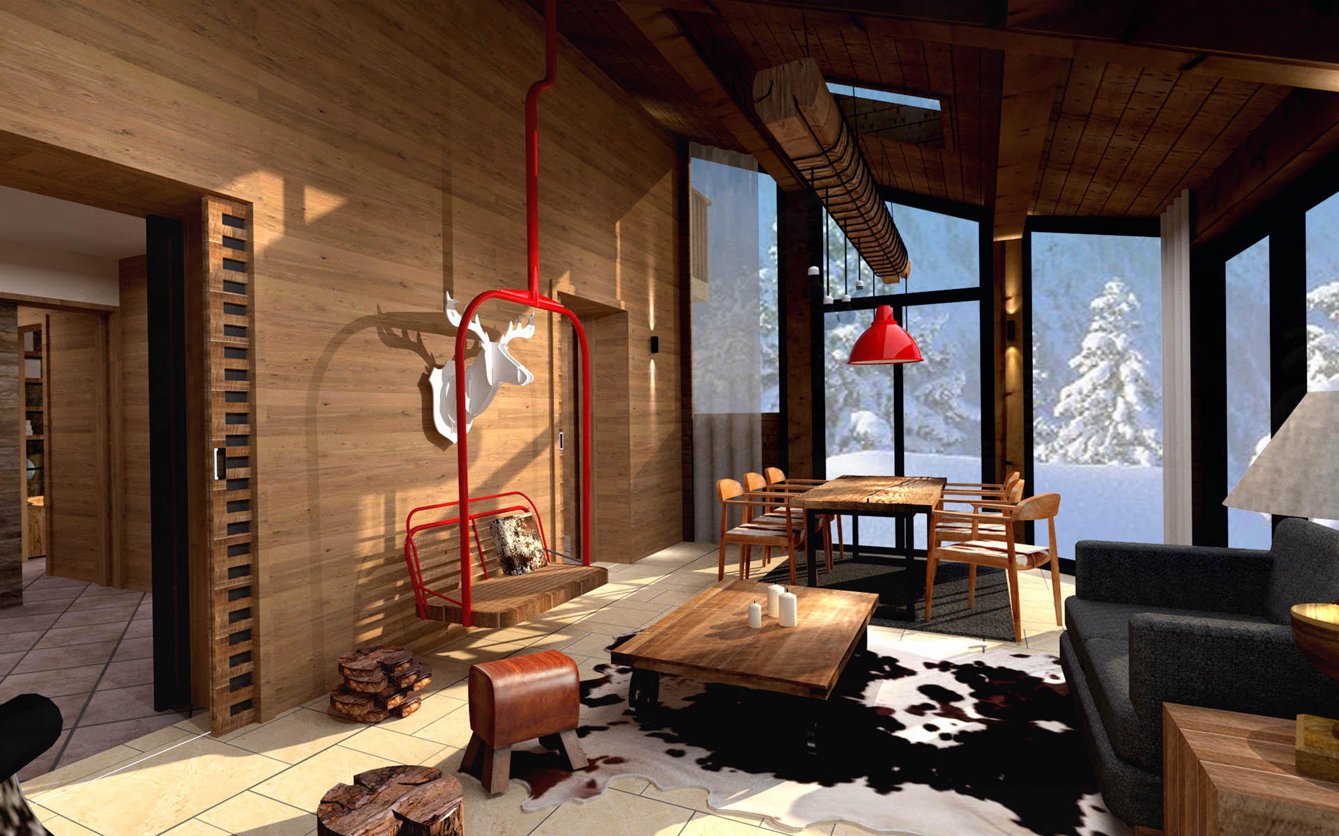 Chalet villar st pancrace red banana studio concepteur d 39 int rieur for Interieur chalet montagne photo