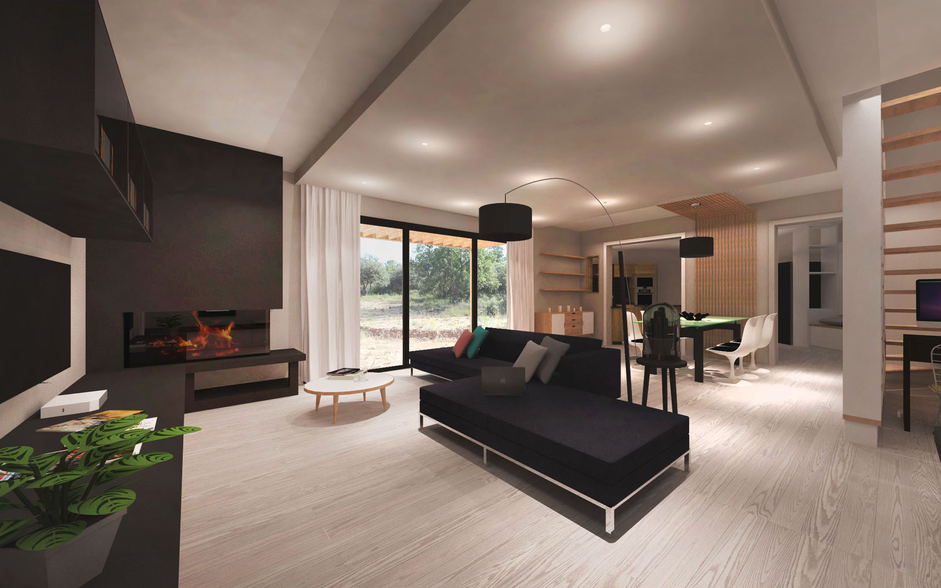 am nagement d 39 une villa contemporaine aix en provence. Black Bedroom Furniture Sets. Home Design Ideas